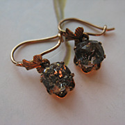 Victorian 10K Foiled Back Paste Pierced Earrings