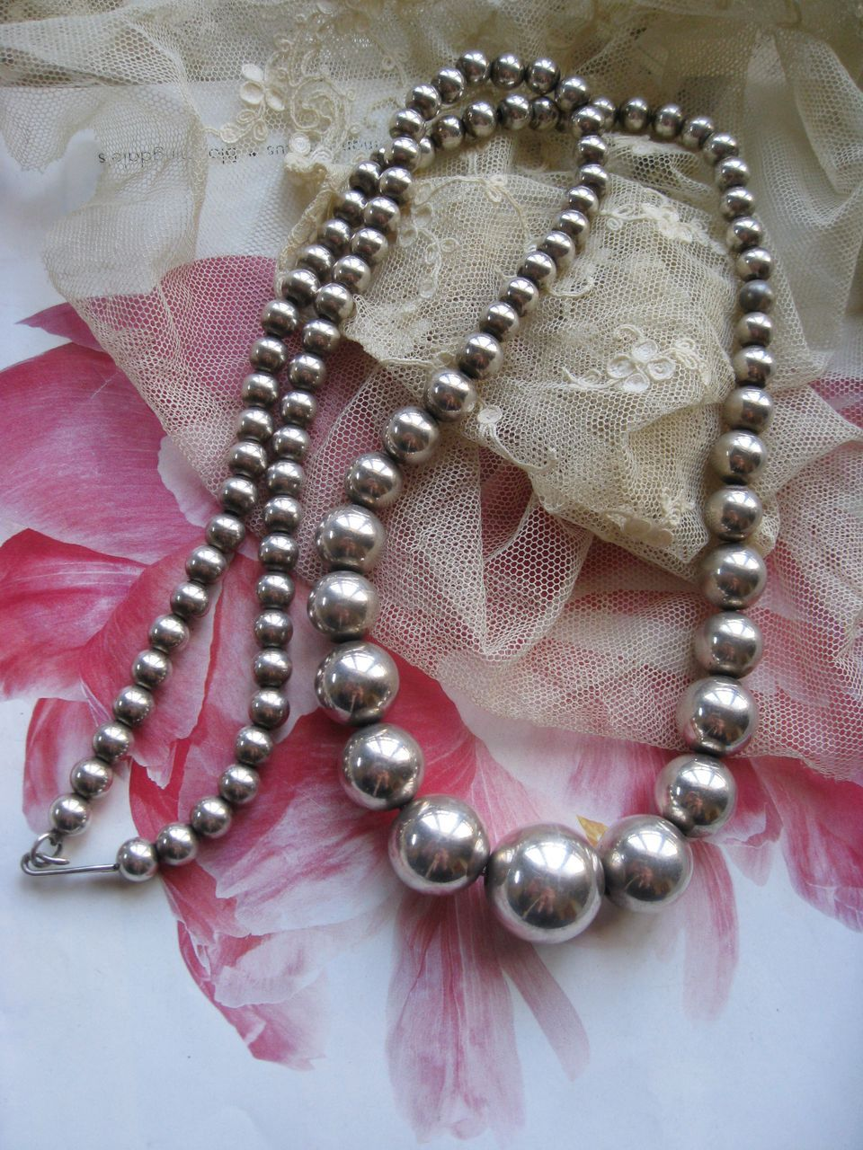 30'' Sterling Silver Beaded Necklace    68.9g