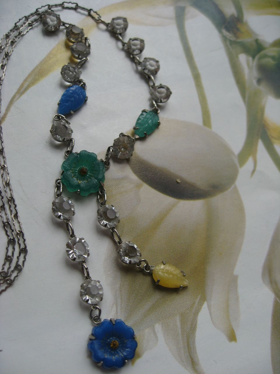 Sterling Pressed Glass & Crystal Necklace