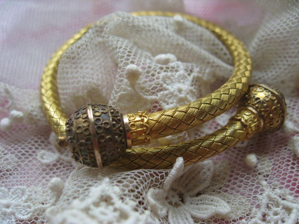 Victorian 14K Etruscan Revival Bypass Bracelet