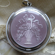 Deco Sterling Enameled Compact Locket