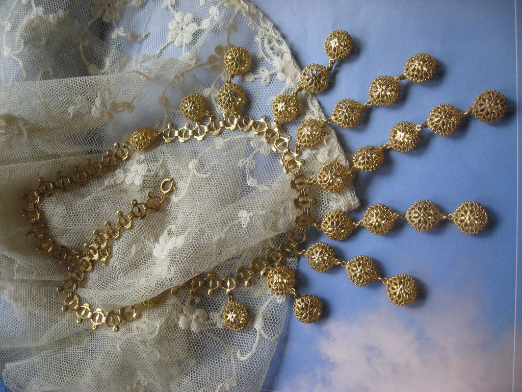 Vintage Victorian Revival Bib Necklace