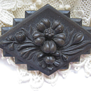 Victorian Vulcanite Pin   Flowers