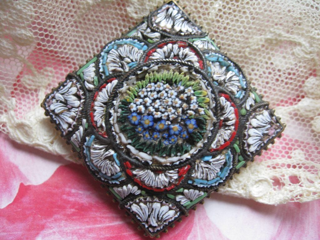 Antique Micro Mosaic Pin