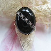 Deco 10K Onyx Diamond Ring