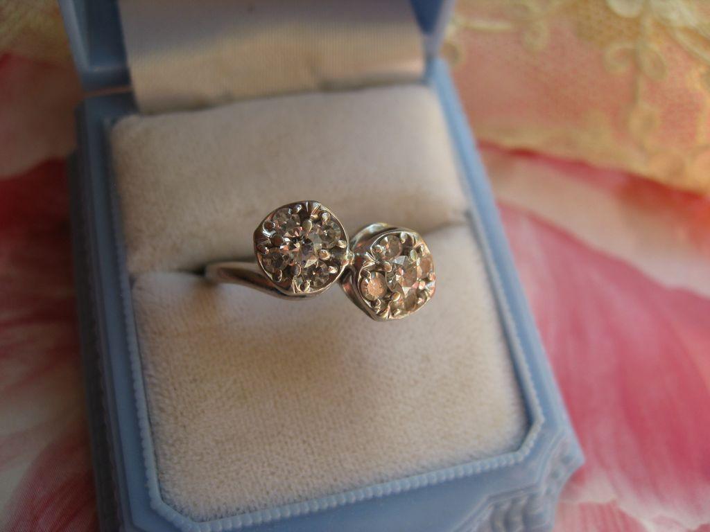Deco 14K White Gold Diamond Cluster Ring