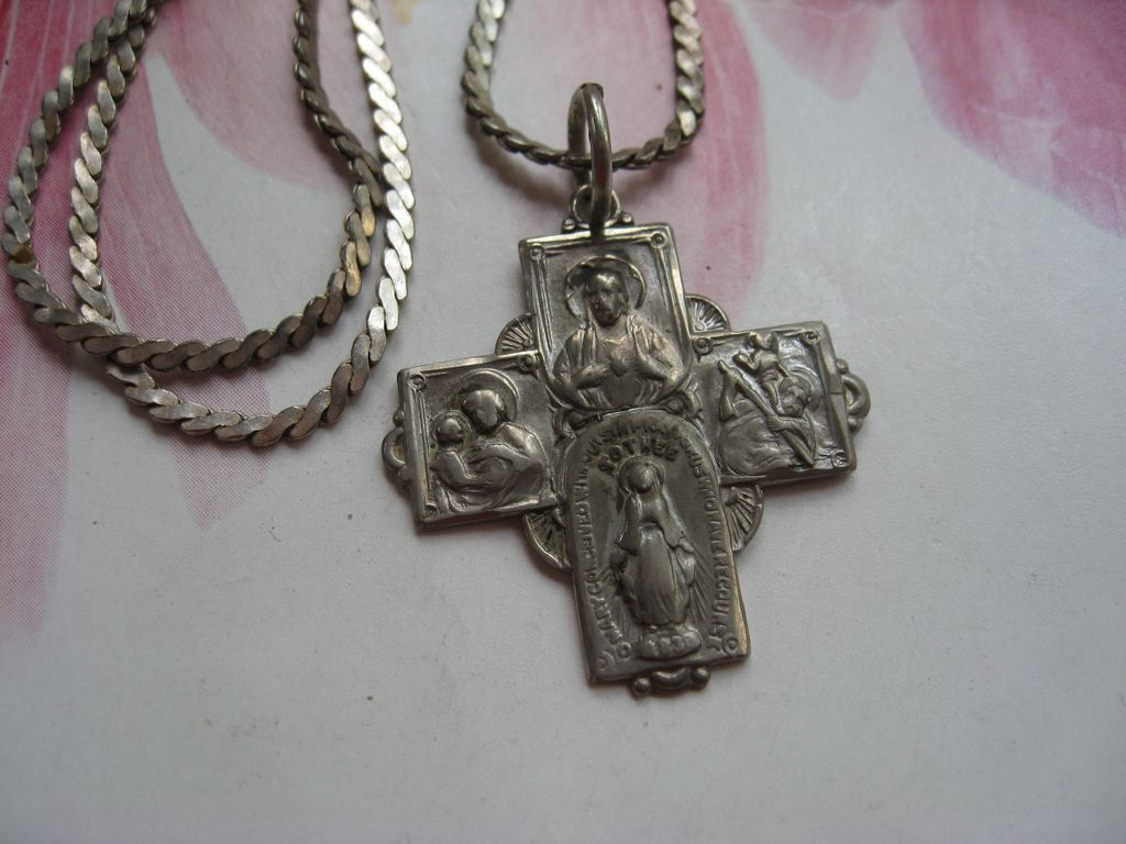 Sterling Vintage Four Way Religious Medal Necklace