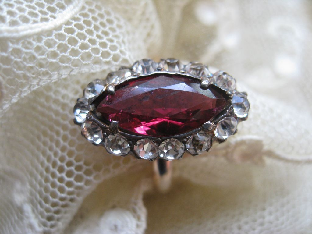 Antique Ruby & Paste Ring   Size 6