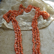 30'' Triple Strand Angel Skin Coral Necklace