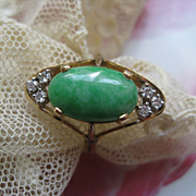 14K Jade & Diamond Ring