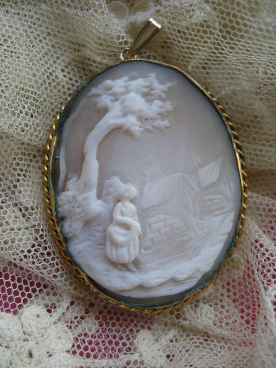 Older Vintage Carved Shell Cameo Pendant
