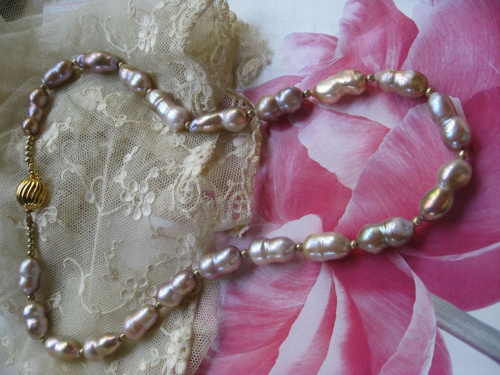 Ringed Cultured Pearl Necklace    Silver