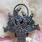Deco Sterling Jeweled Flower Basket Fur Clip