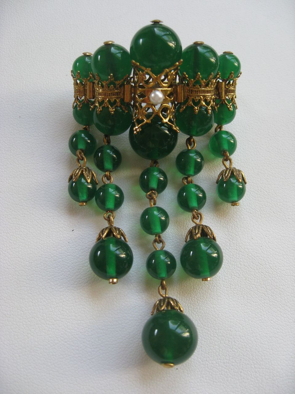 Vintage Green Glass Brooch
