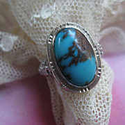 Art Deco White Gold Filligree Turquoise Ring