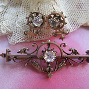 Victorian 10K Paste Pin & Paste Earrings in Gold Fill