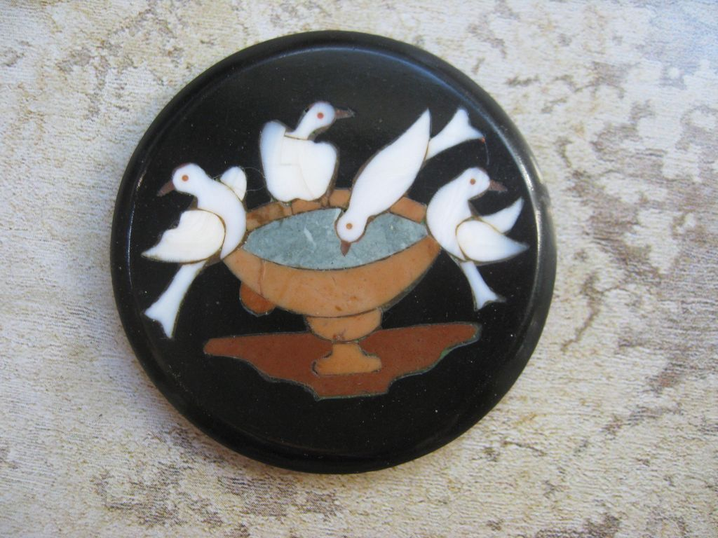 Antique Pietra Dura Plaque     Pliny's Doves
