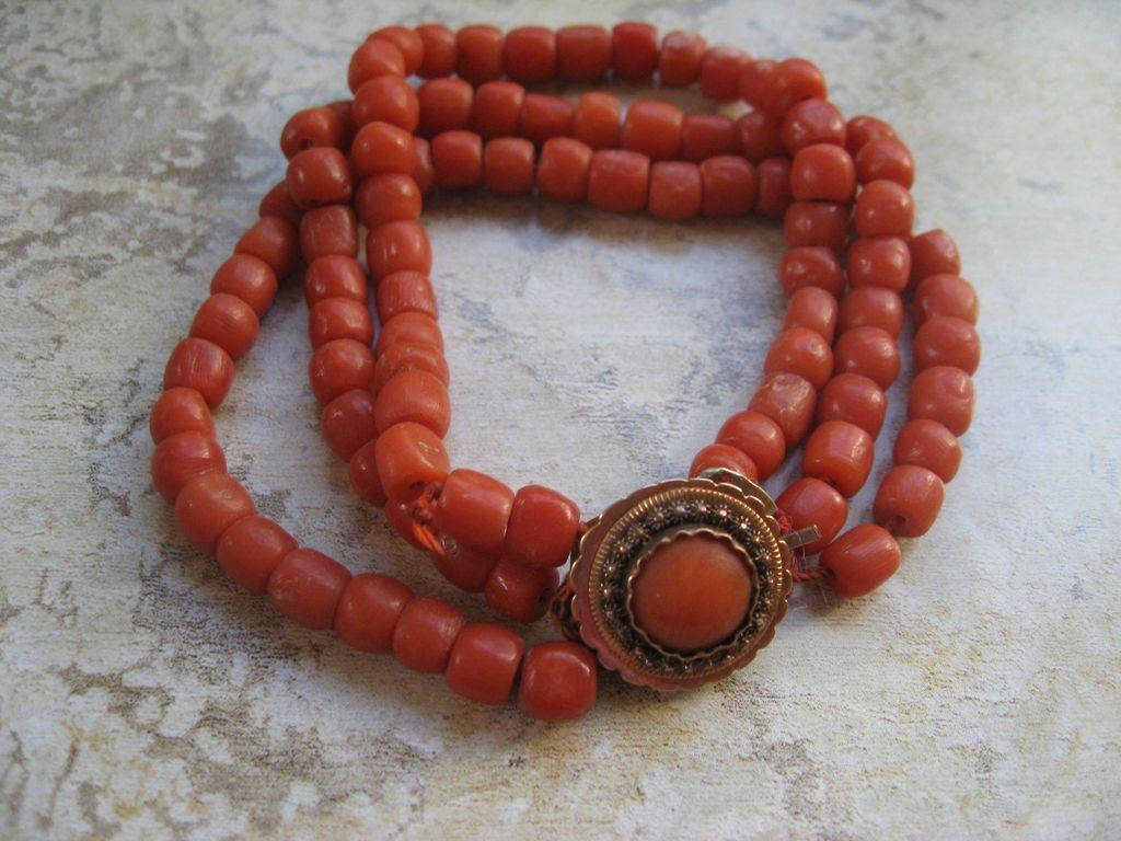 Victorian Gold Natural Coral Bracelet