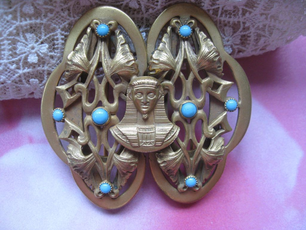 Art Deco Egyptian Revival Buckle Pin   Circa 1920