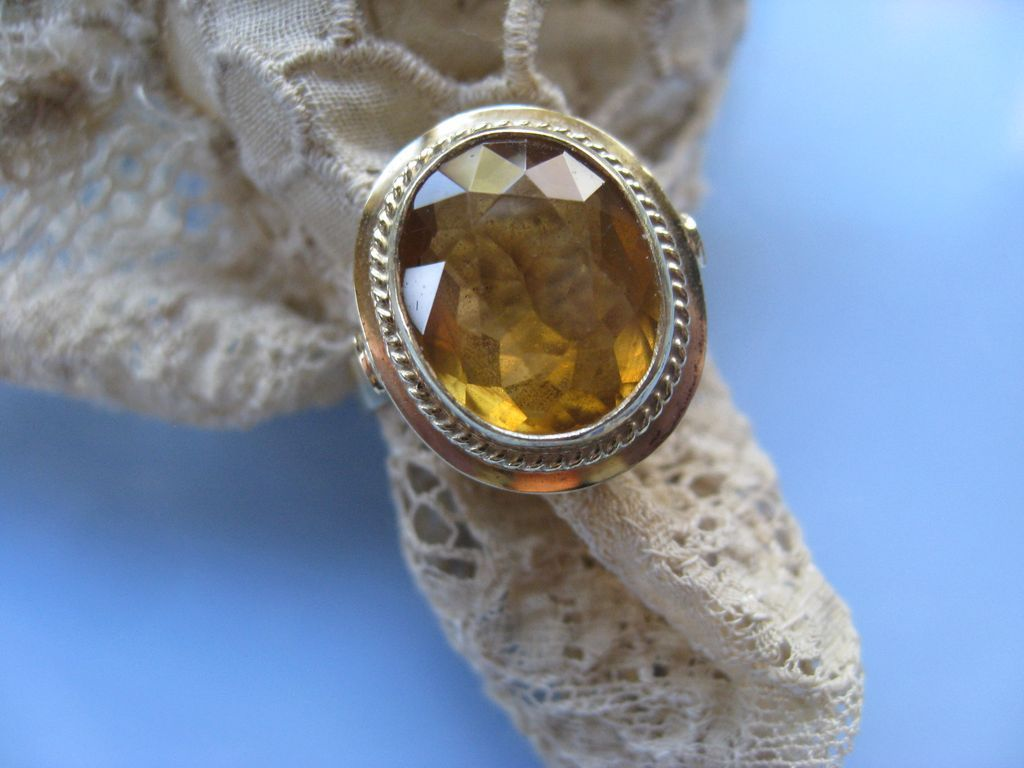 November Birthstone 14K Citrine Ring Circa 1930