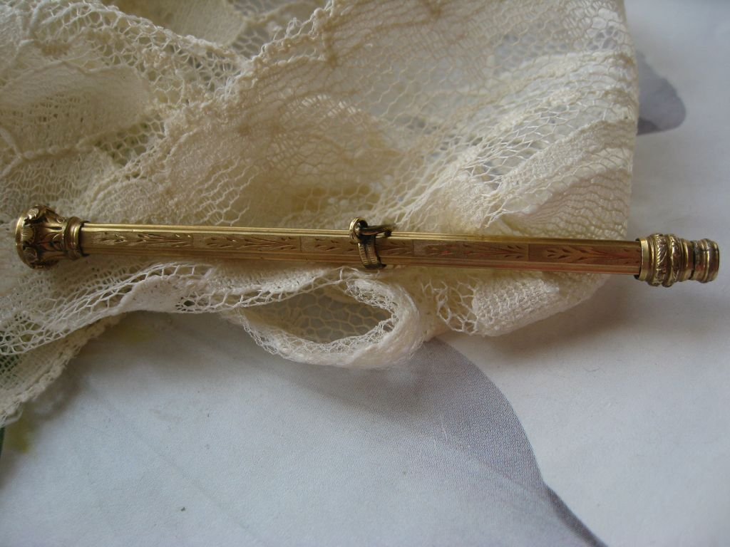 Victorian Jeweled Pencil in Gold Fill