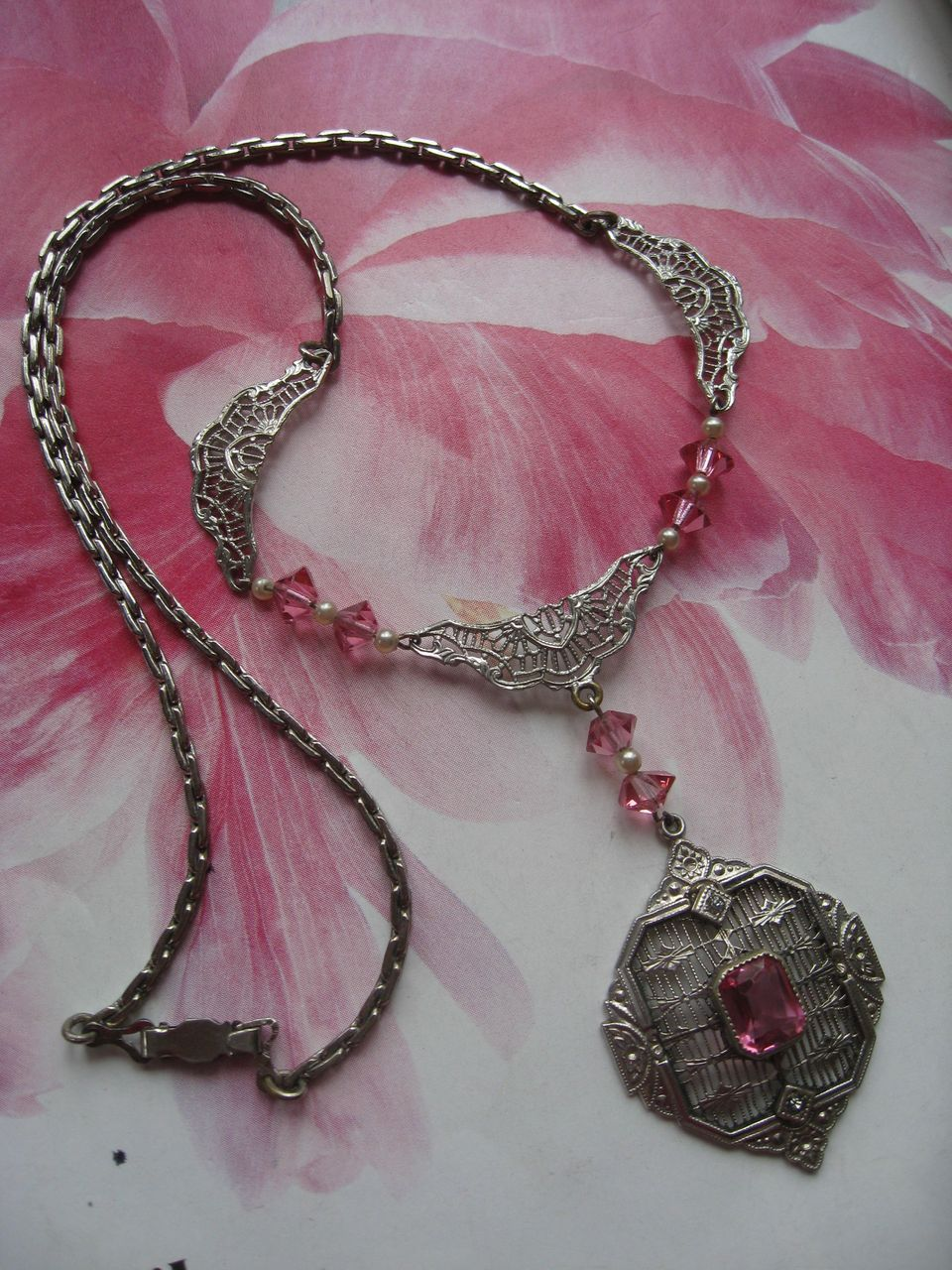 Art Deco Filigree Pink Crystal Necklace