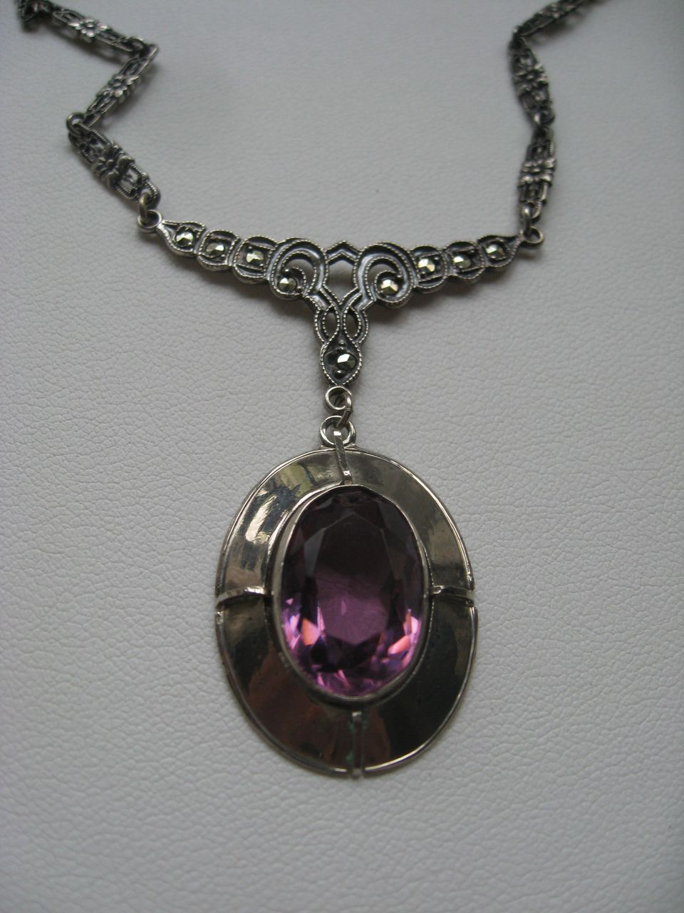Art Deco Sterling Faceted Crystal Necklace