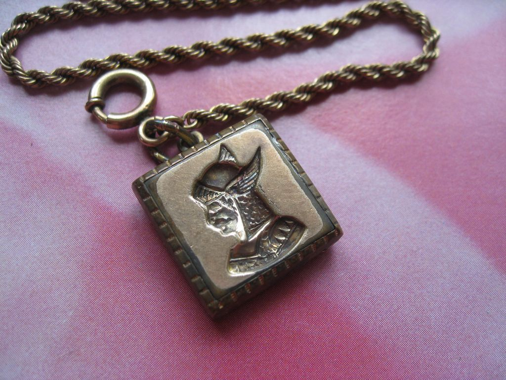 Antique Enameled Watch Fob on Braided Watch Chain