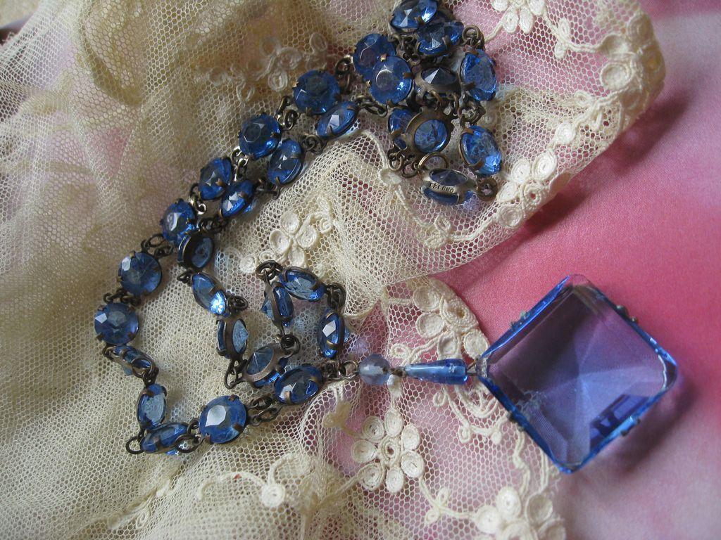 Czech Blue Crystal Necklace Hallmarked