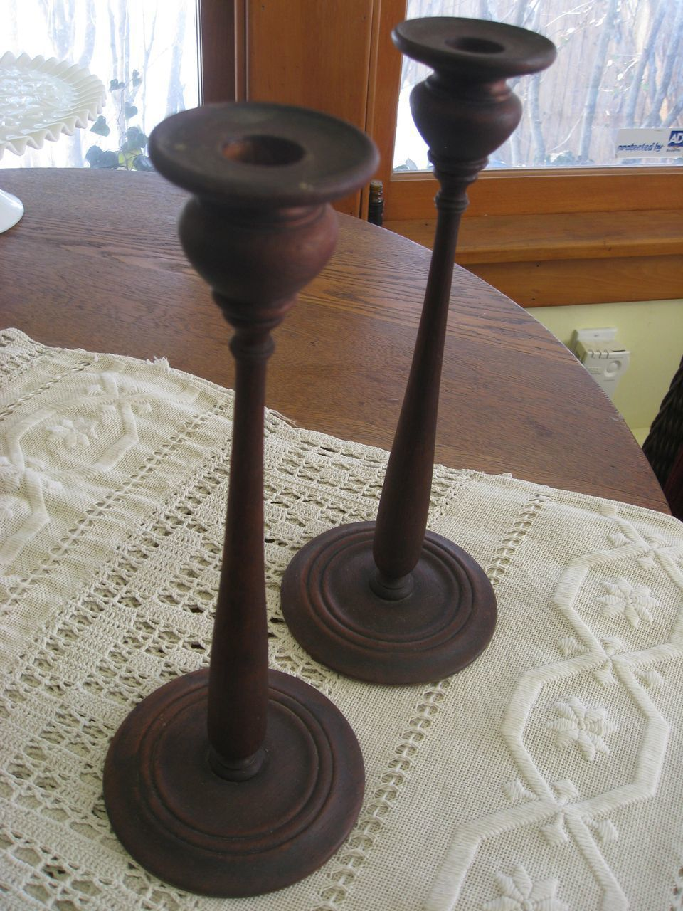 Antique Hand Made Wooden Candle Sticks