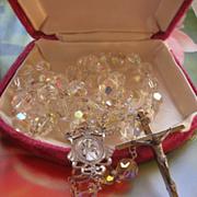 Vintage Sterling Crystal Rosary, Velvet Box, Brides Rosary, First Communion