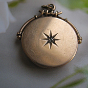 Antique 10K Locket, Rose Cut Diamond, Star Burst