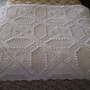 1940s Hand Crochet Bed Spread, Throw, Coverlet
