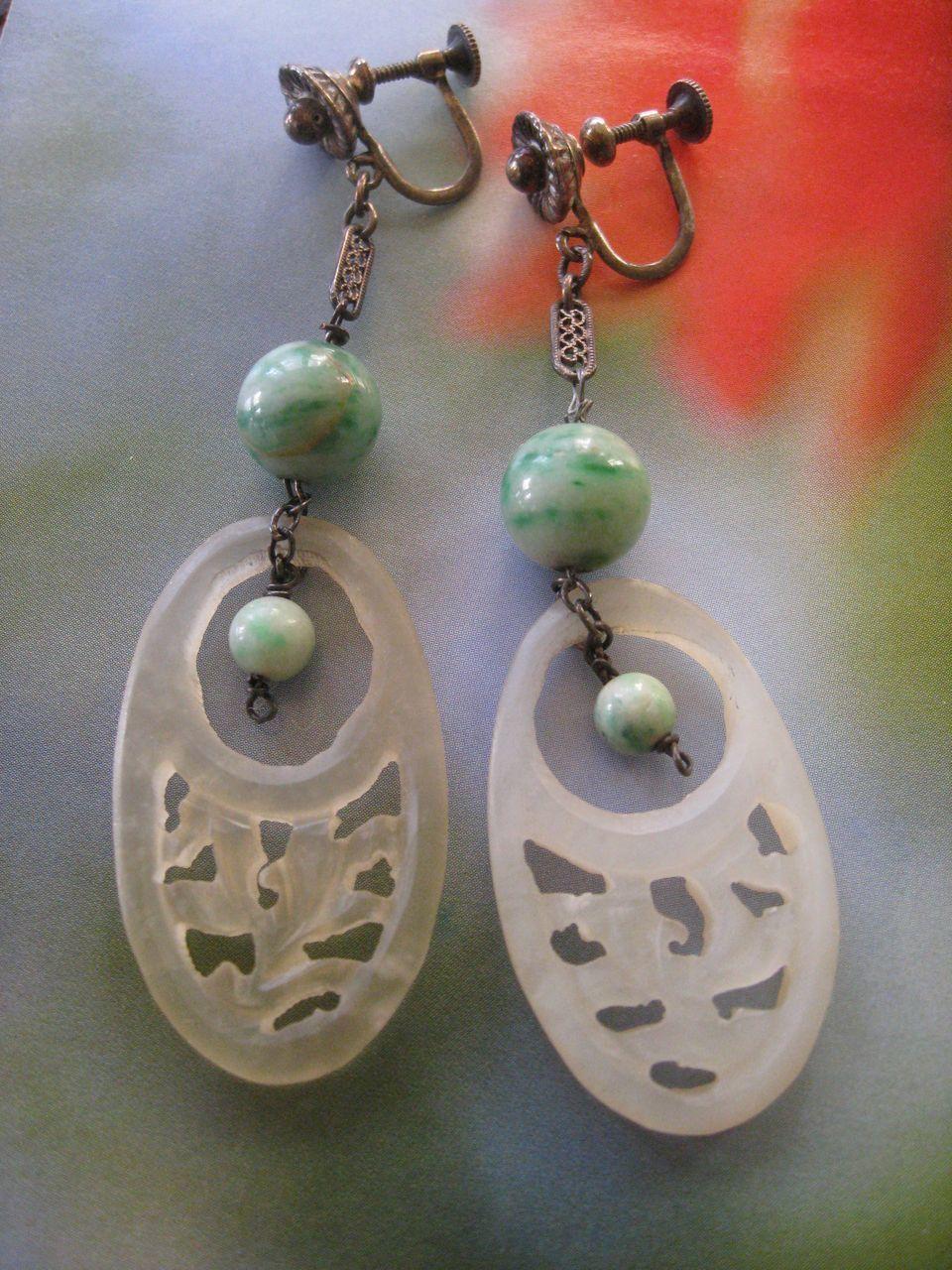 Deco 1920s Asian Import  Burmese Jadeite & Bowenite Screw Back Earrings