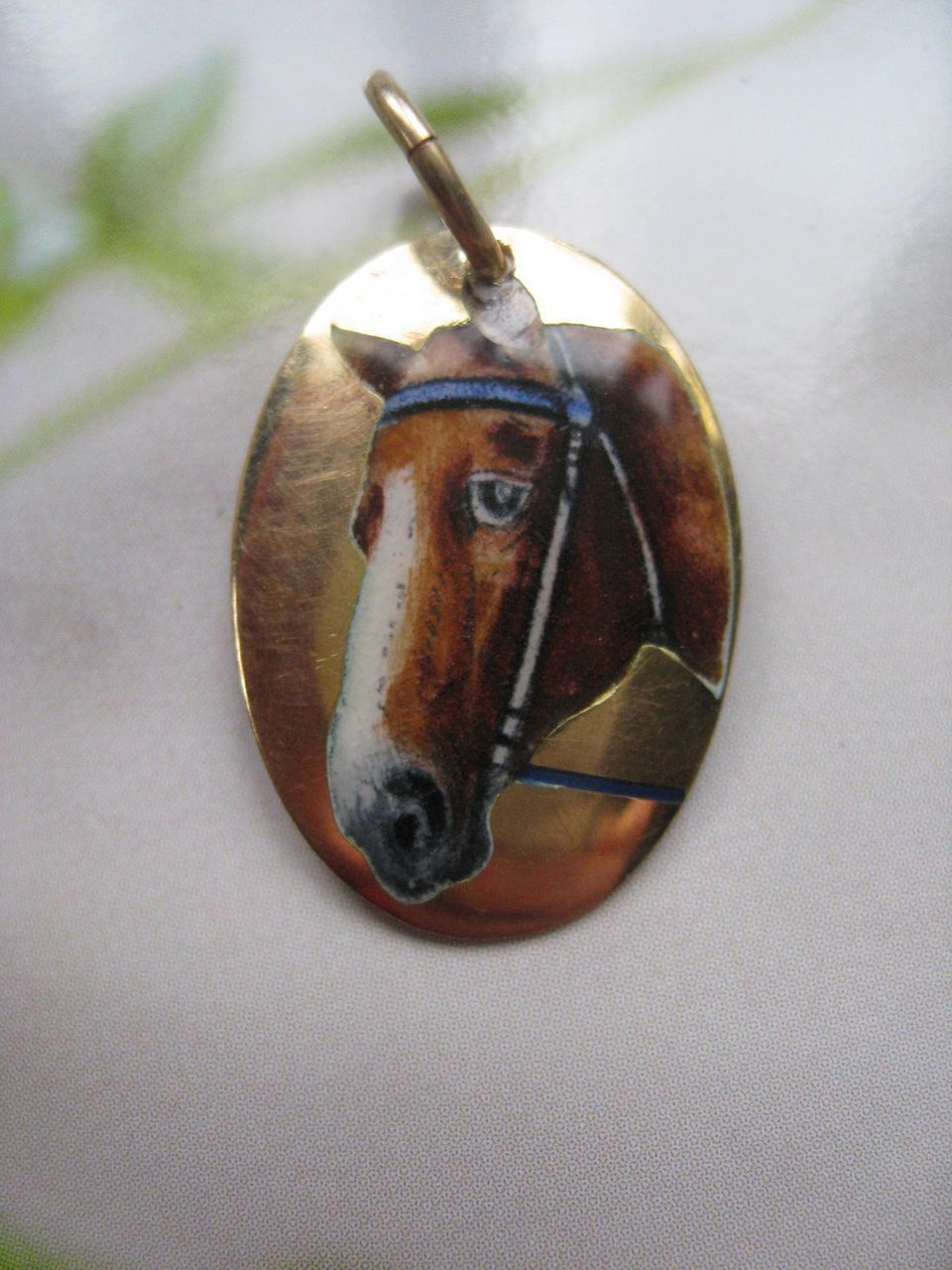 Antique 18K Enameled Horse Charm  Equestrian