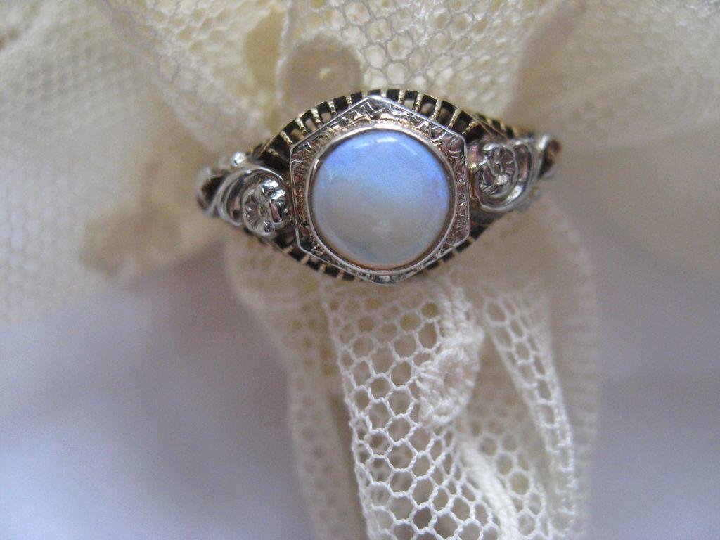 Deco Opal 10K Ring, Circa 1920, Estate Jewelry