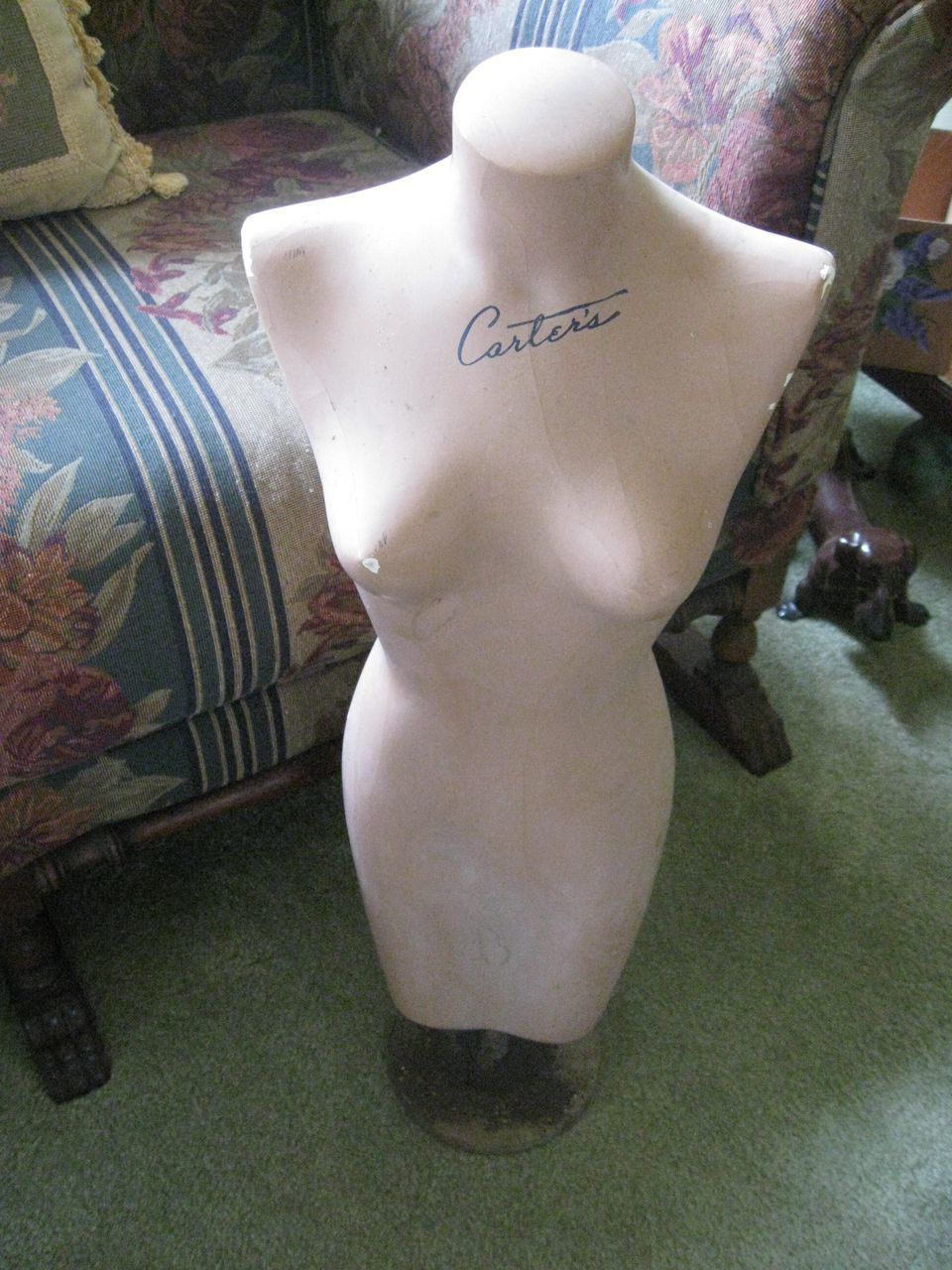 1930s -1940s Dress Form, Counter Top Display, Plaster Mannequin, Carters Lingerie Advertisement