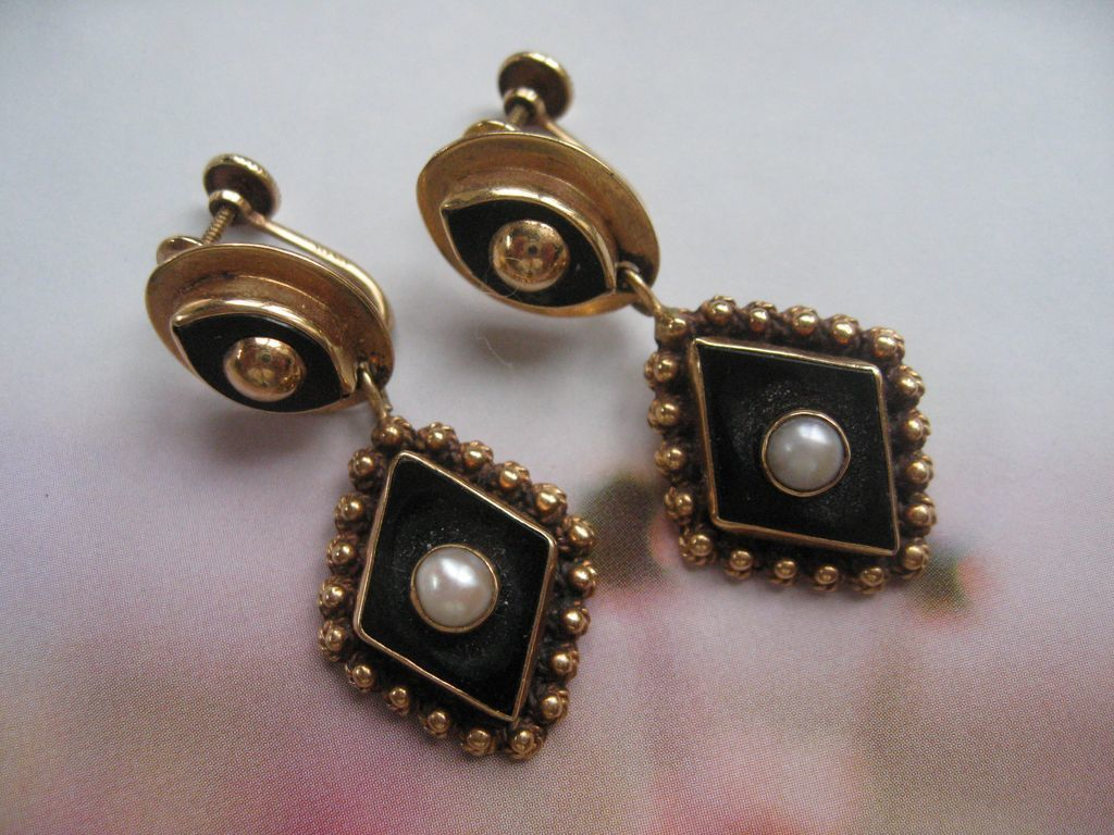 14K Onyx Cultured Pearl Earrings,  Spectacular Design, Circa 1930