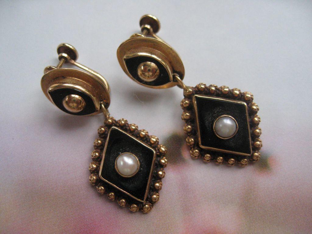 14K Onyx Cultured Pearl Earrings,  Spectacular Design, Circa 1930