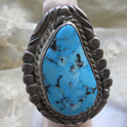 Navajo Sterling Turquoise Ring  JT Hallmark