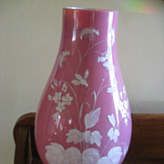 Victorian Bristol Vase, Pink Vase with Painted White Flowers  12''