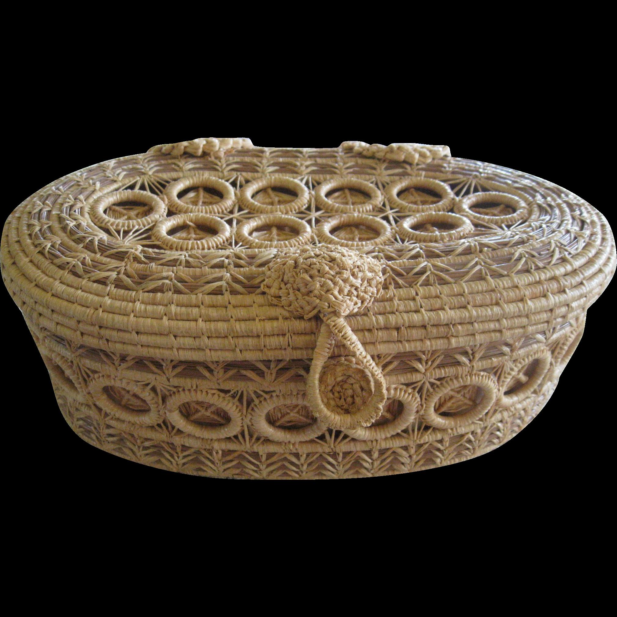 Handmade American Baskets : Native american basket hand made grass pink