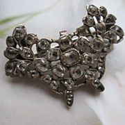 Early Victorian Black Dot Paste Butterfly Brooch    Silver