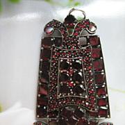 Antique Bohemian Garnet Pendant - Pin, Fine Estate Jewelry