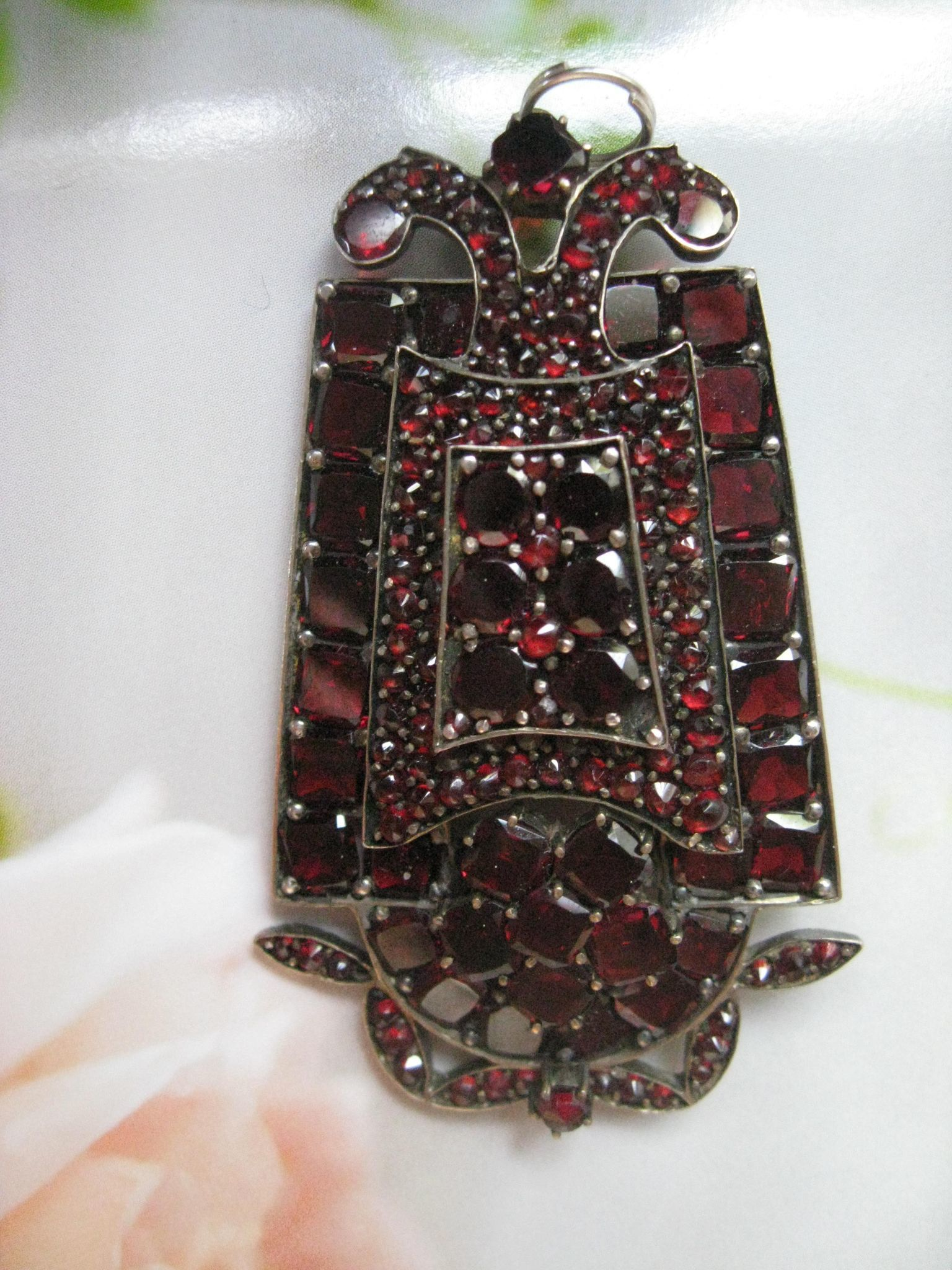 Antique Bohemian Garnet Pendant - Pin, Fine Estate Jewelry