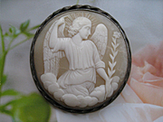Antique Archangel Gabriel Cameo Pin, Saints Cameo