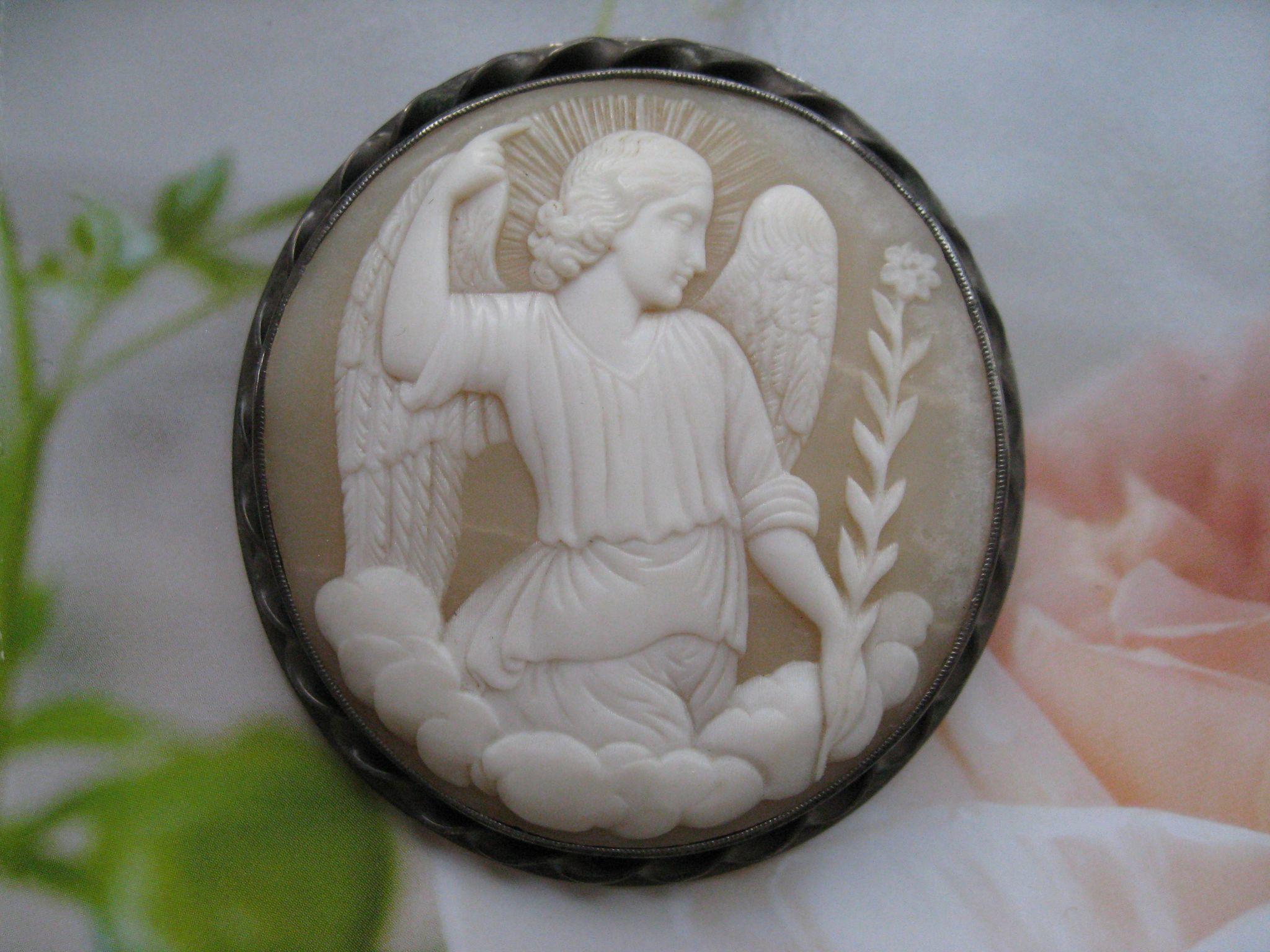 Antique Archangel Gabriel Cameo Pin, Saints Cameo