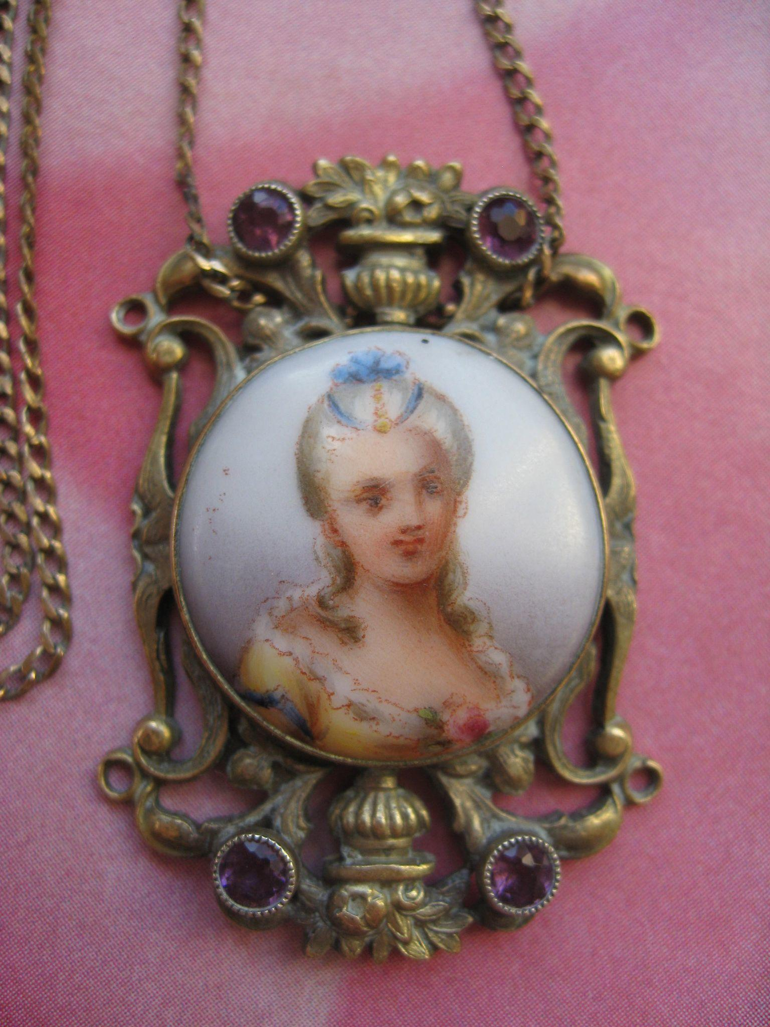 Antique Porcelain Portrait Necklace From Inspiredbynanny
