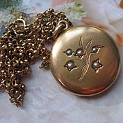 Victorian 10K Locket Necklace, Seed Pearl Flowers