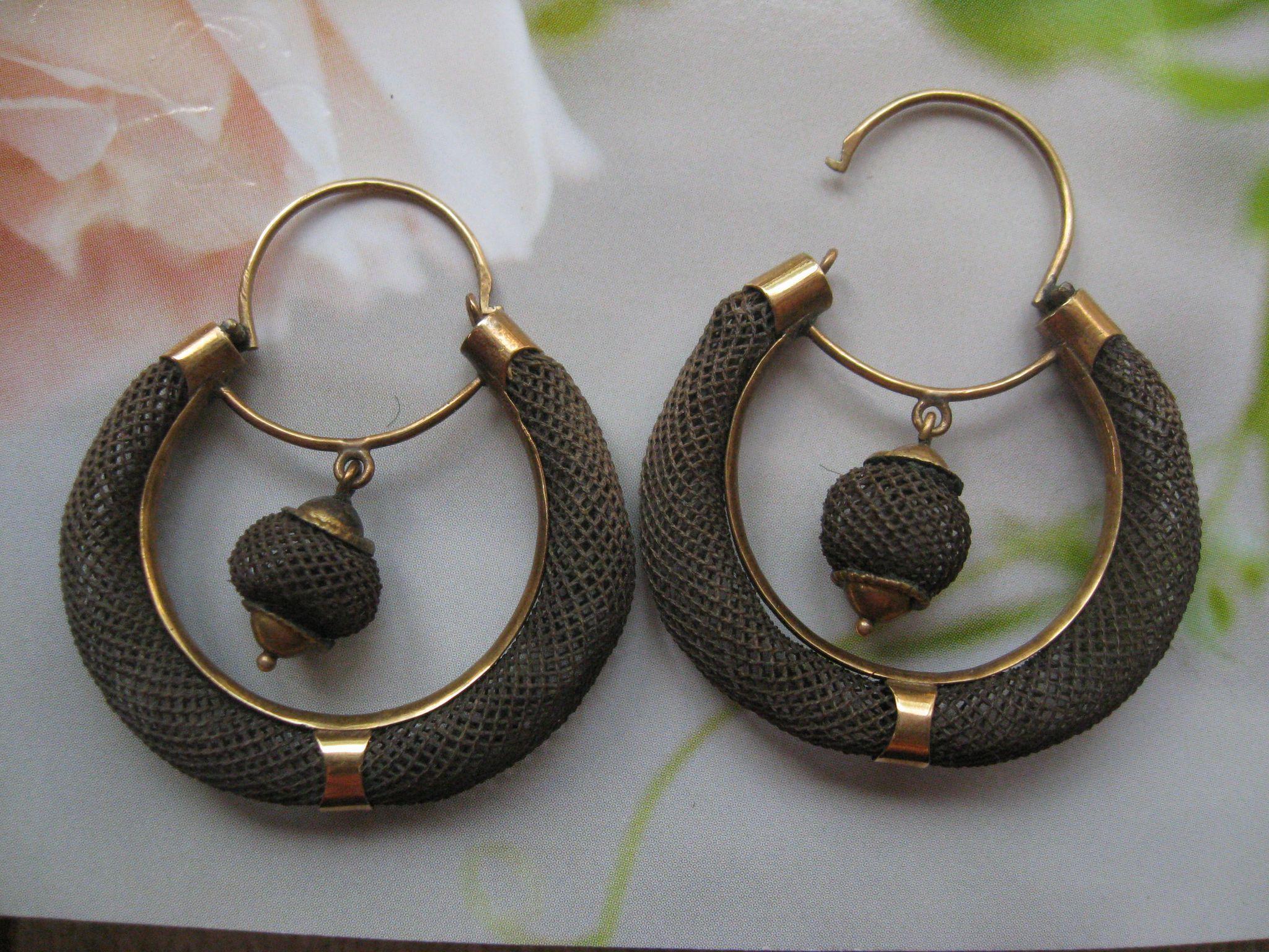 Victorian Hair Work Pierced Earrings  C1860 Acorn Bulbs